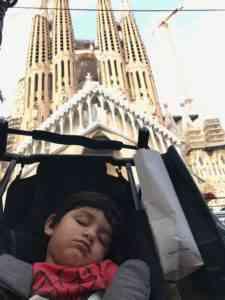 Aarav sleeping in the gb pockit stroller