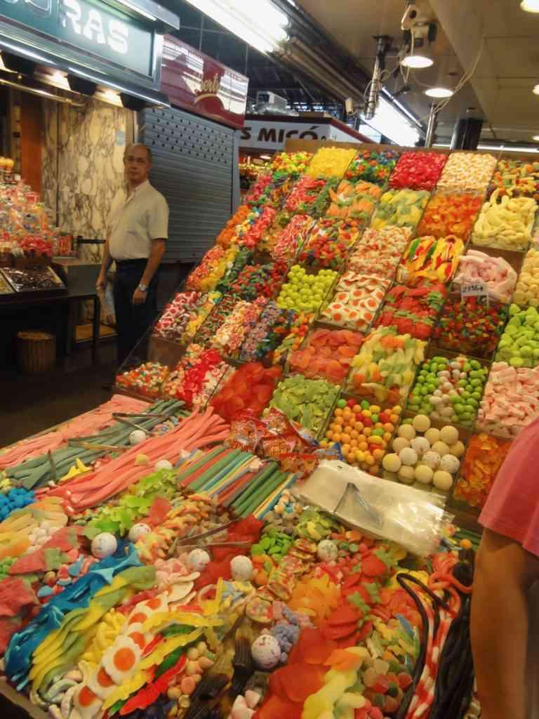 Amazing display of candy in La Boqueria Market on Las Ramblas IN Barcelona
