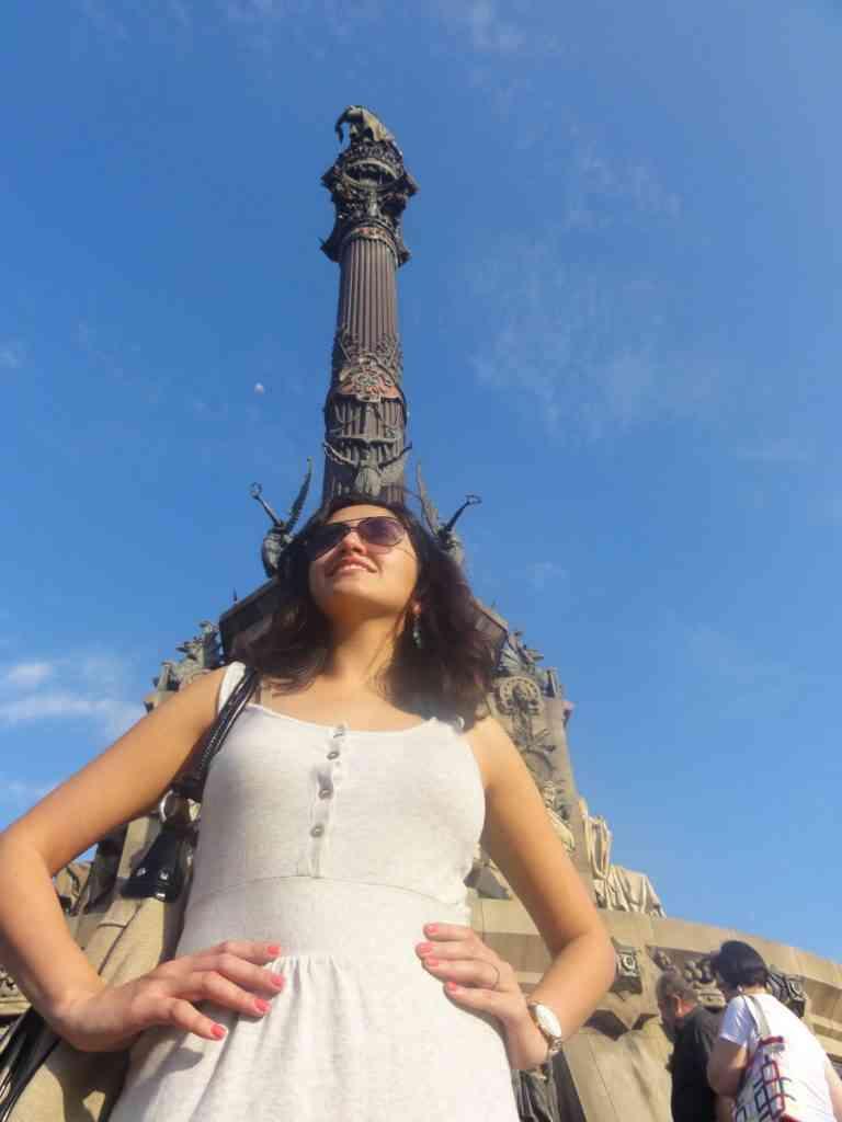 Natasha in front of Columbus monument in Barcalona