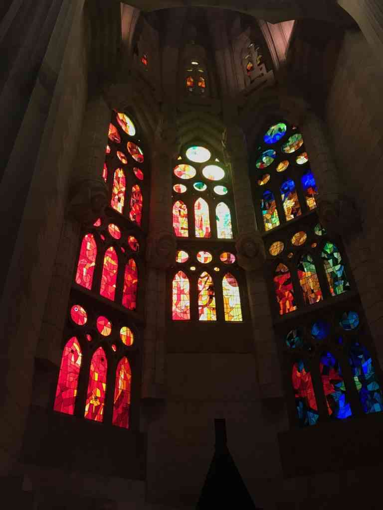 The magnificent stained glass windows of Sagrada Familia in Barcelona