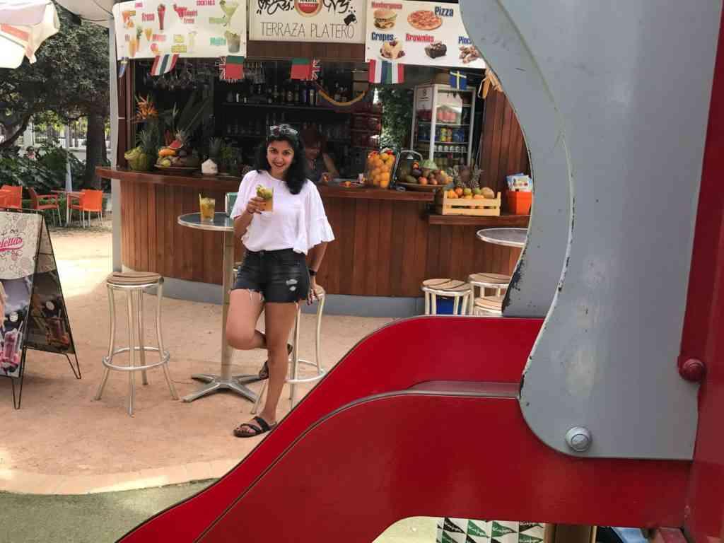 Enjoying a drink at Parque de Malaga