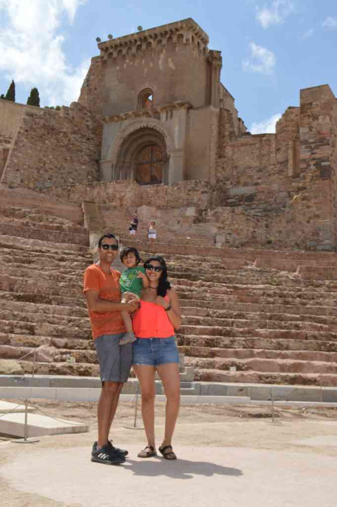 Picture of our family in the Ancient-Roman Theater in Cartegena
