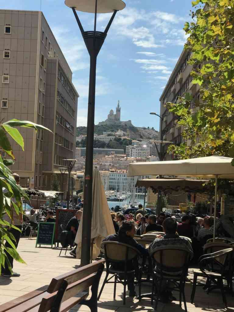 View of Notre Dame cathedral from our lunch in Marseille