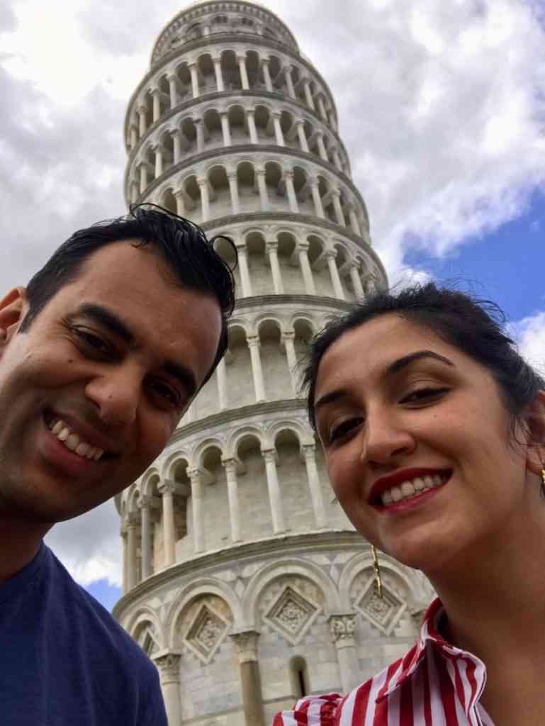 At the Leaning Tower of Pisa on our cruise day in Livorno, Italy