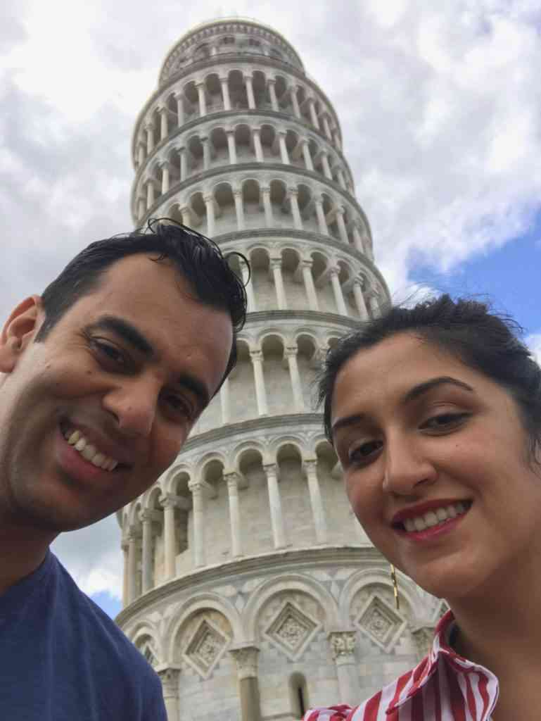 Selfie in front of the Leaning Tower of Pisa