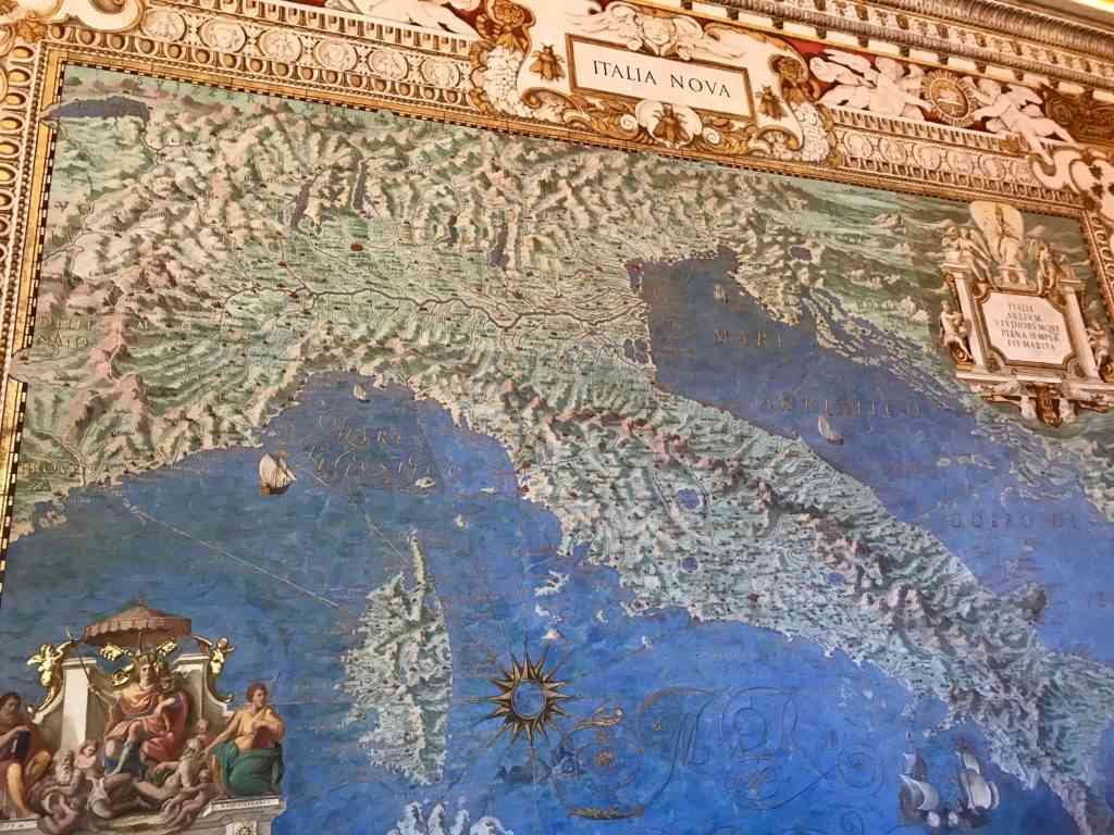 Ancient map of Italy in the Map Room at the Vatican