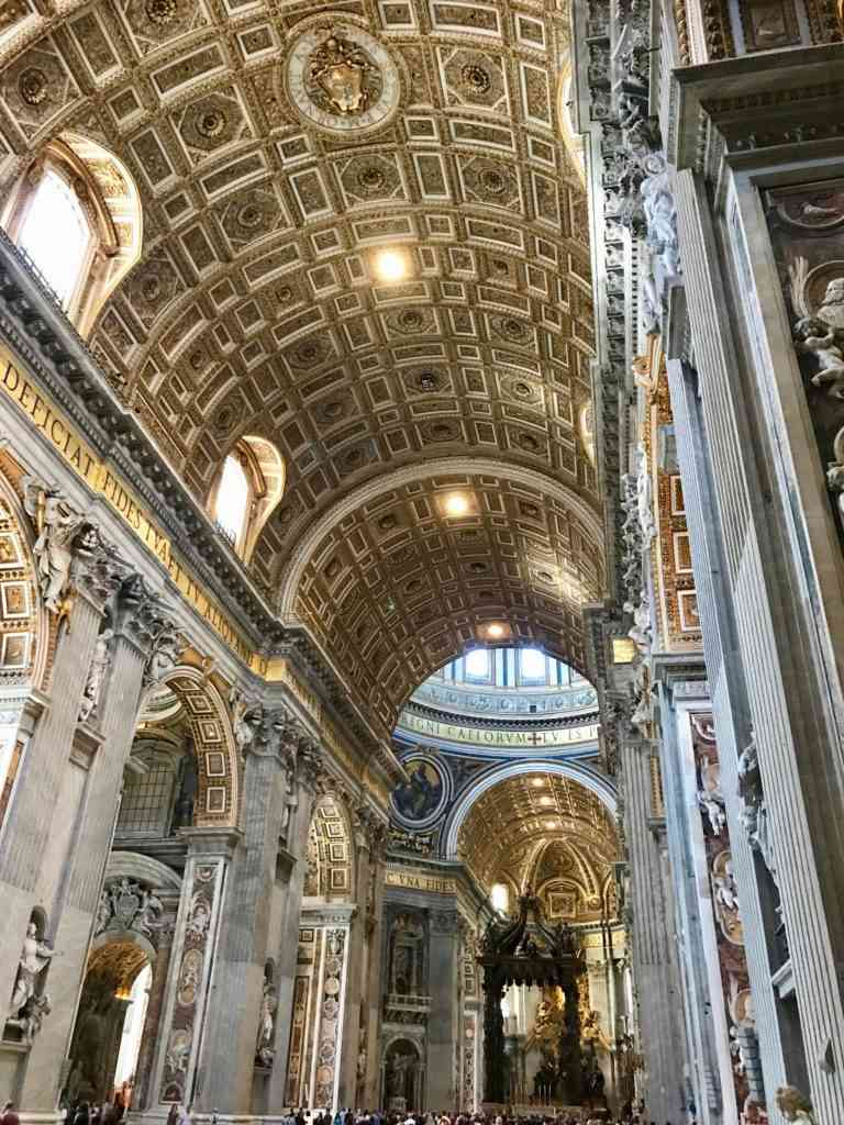 Entrance and ceiling on the amazing St. Pete's Basilica at the Vatican