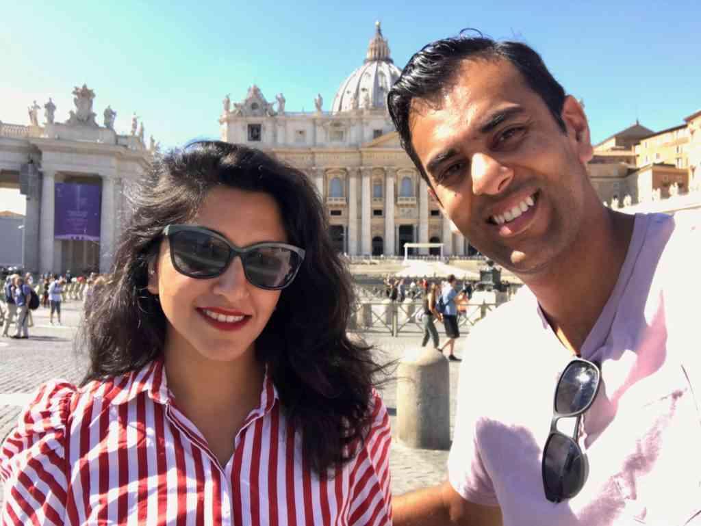 Selfie in front of St. Pete's Basilica in the Vatican