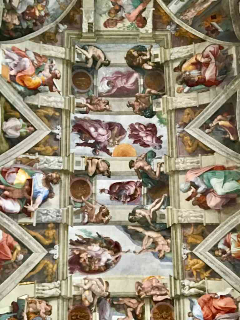 The amazing ceiling painted by Michaelangelo in the Sistine Chapel