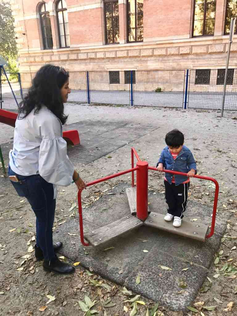 Aarav playing at a playground right by Park Zrinjevac