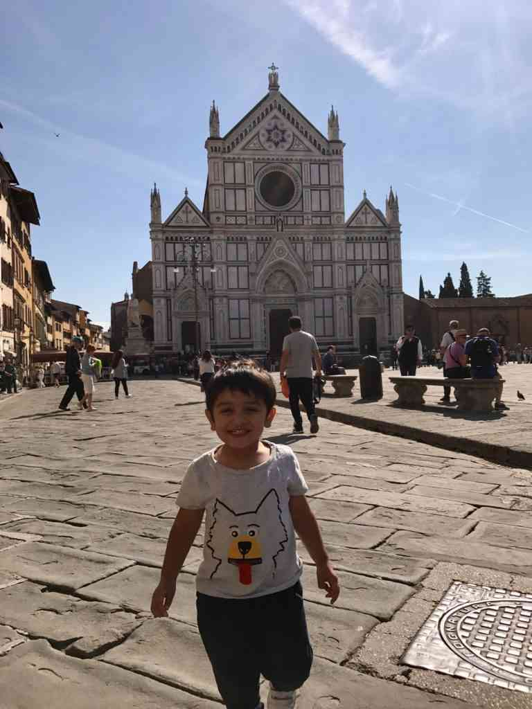 Aarav running towards me in Florence