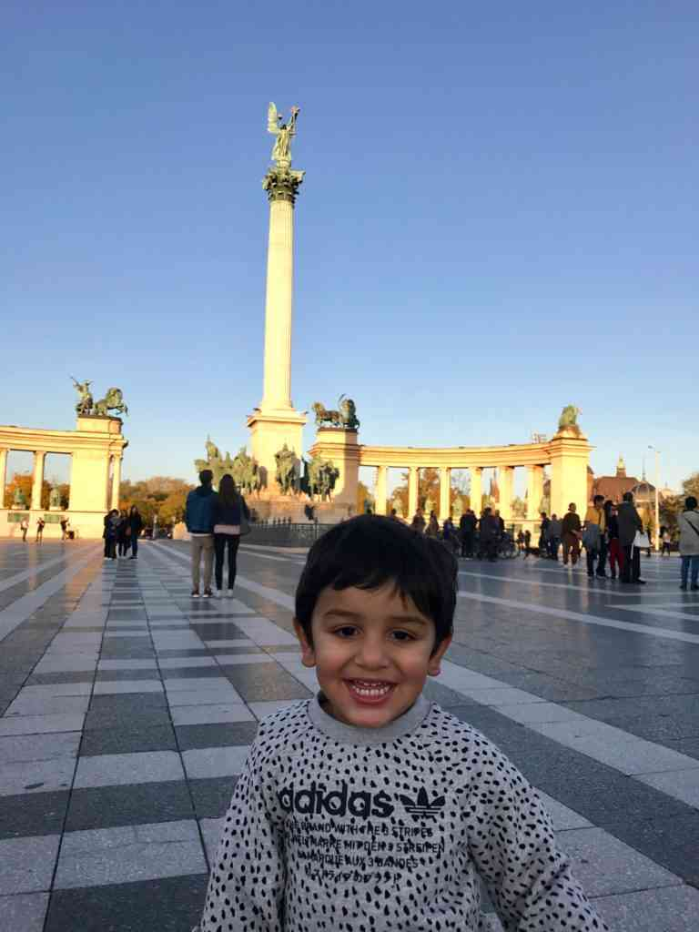 Aarav enjoying Heroes Square, Budapest