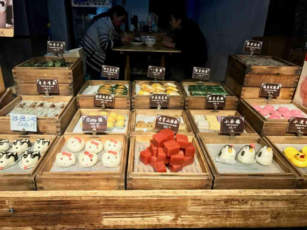 Wonderful display of desserts and cakes in Xitang